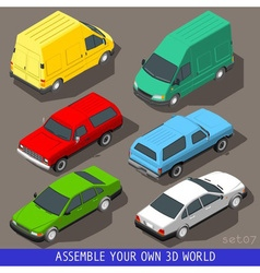 Isometric Flat 3d Vehicle Set vector image