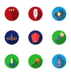 Light source set icons in flat style Big vector image