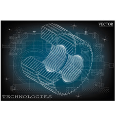 machine-building drawings on a blue-gray vector image vector image