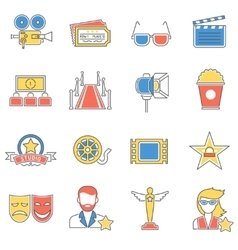 Movie icons line vector