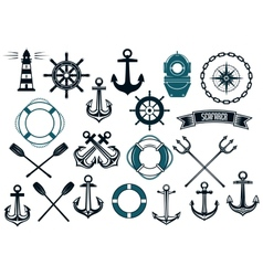 Nautical themed design elements vector