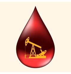 Oil pump in a drop of oil vector image vector image