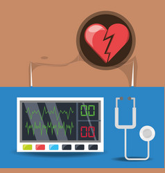 Set chest pain and electrocardigraphy machine vector