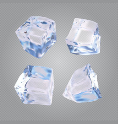 Set of four transparent ice cubes vector