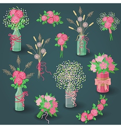 Set of pink bouquets vector
