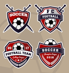 Set of soccer football badge logo design vector image