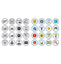 Set of statistics accounting and report icons vector