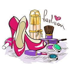Set of womens cosmetics perfume and shoes vector