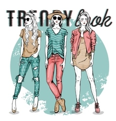 set with trendy girls vector image vector image