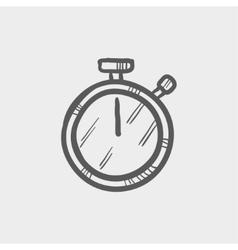 Stop watch sketch icon vector
