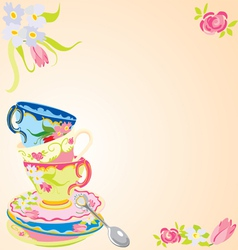 Tea party invitation vector
