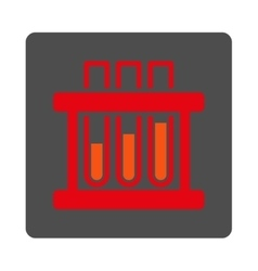 Test Tubes Rounded Square Button vector image