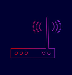 Wifi modem sign line icon with gradient vector