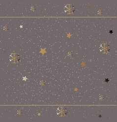 winter golden pattern with snowflakes vector image vector image