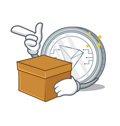 With box tron coin character cartoon vector