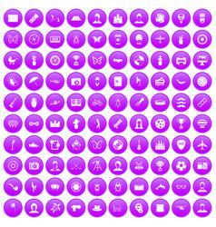 100 photo icons set purple vector
