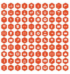 100 playground icons hexagon orange vector