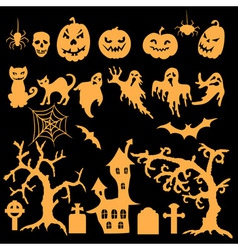 Set of halloween silhouettes vector