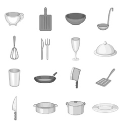 Kitchen utensil icons set gray monochrome style vector