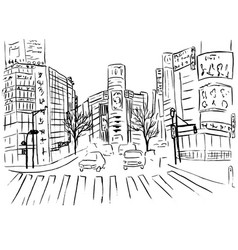 shopping street in shibuya vector image