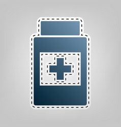Medical container sign  blue icon with vector
