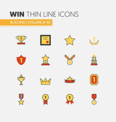 Awards and trophy linear thin line icons vector