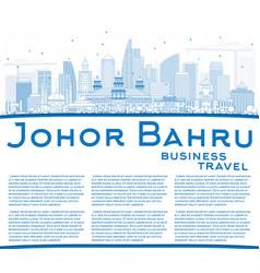 Outline johor bahru malaysia skyline with blue vector