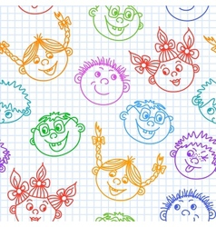 Seamless doodle smiling kids faces pattern vector image