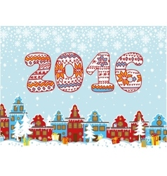 2016 year knitted figures christmas city vector