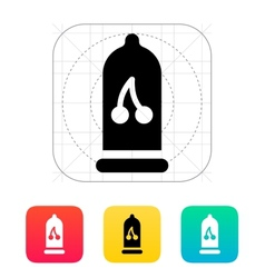Condom with cherry flavored icon vector
