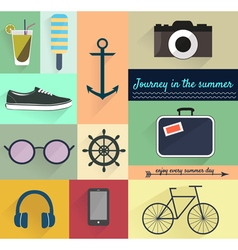 Set of summer design elements vector