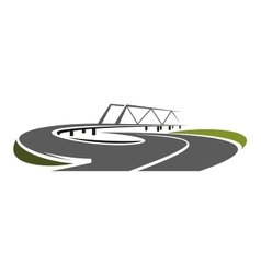 Road bridge above speed highway vector