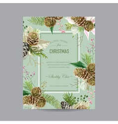 Christmas frame or card - in watercolor style vector