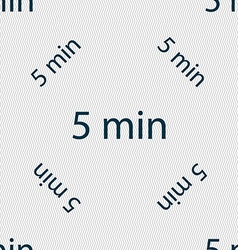 Five minutes sign icon seamless pattern with vector