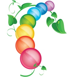 Colored pills with foliage vector