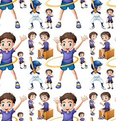 Seamless boy doing different activities vector