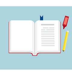 Book open with pencil and marker pen flat design vector