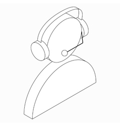 Operator in headset icon isometric 3d style vector