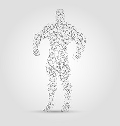 Abstract human figure from dots and lines hero vector