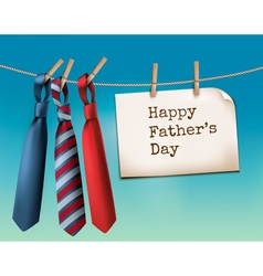 Happy fathers day background with a three ties vector