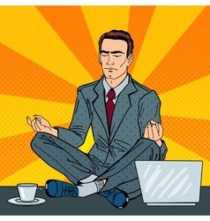 Businessman meditating on the office table vector