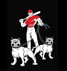 Angry man pitbulls vector