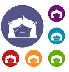 Awning tent icons set vector