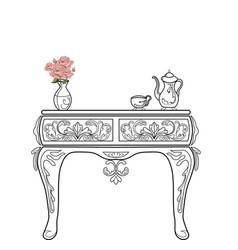 Baroque bedside commode furniture rich set vector