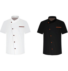 black and white chef shirt cook uniform vector image vector image