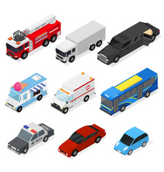 Cars set isometric view vector