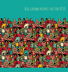 Crowd big group people seamless pattern and sky vector