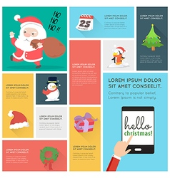 Flat design christmas icons infographic vector