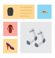 Flat icon dress set of clothes stylish apparel vector