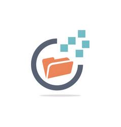 folder technology logo vector image